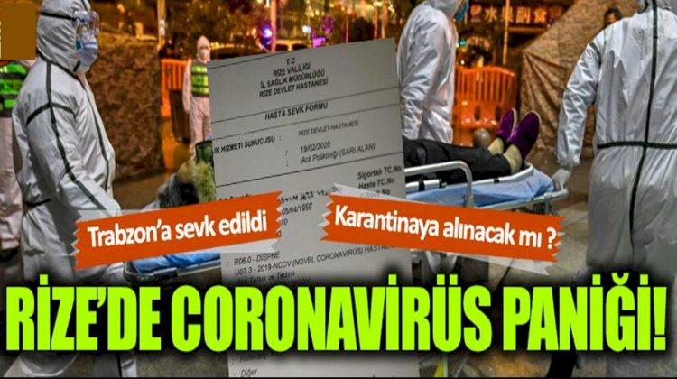 Rize'de  Coronavirüs Şüphesi